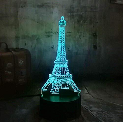 3D Optical Illusion Lampe Led Nachtlicht Liebe Romantische Frankreich Paris Eiffelturm Nachtlicht 3D Nachtlicht Usb Led Schreibtischlampe 7 Farben Ändern Liebhaber Süße Freundin Geschenk