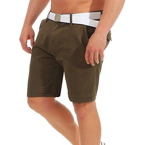 Brave Soul Herren Chino Shorts kurze Hose Bermuda Short Sommer Chinohose Stoff mit Gürtel AZ46, Größe:L;Farbe:Khaki (Khaki Chino Shorts)