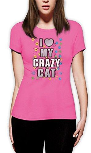 I Love My Crazy Cat funny Motiv Frauen T-Shirt Rosa