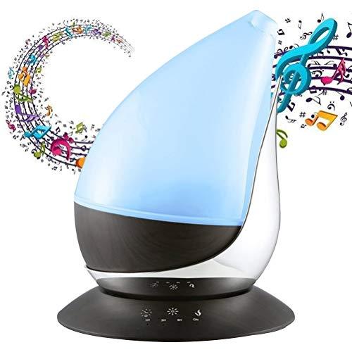Diffusore di Aromi 350ml Musica Aromaterapia Umidificatore Diffusore Oli Essenziali con Altoparlante Bluetooth Controllo Touch 7 Colori LED 4 Impostazioni Timer Auto-off Anidro, Grano di Legno
