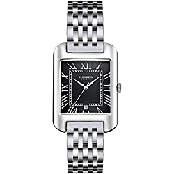 Blenheim London® B3180 Curve Watch Black Roman Numeral with Silver Hands with Stainless Steel Strap
