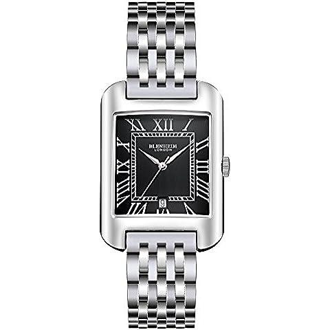 Blenheim Londres® B3180Curve reloj negro números romanos con plata manos con correa de acero