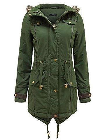 Brave Soul Allure Ladies Faux Fur Parka Coat - Khaki Green -Large - 14