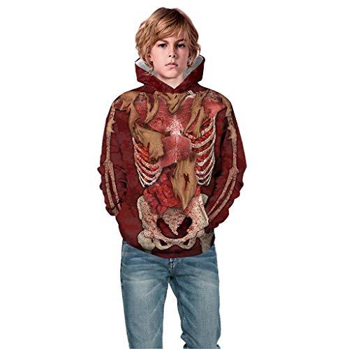 Baby Halloween Kostüm Sweatshirt, Teen Kids Boy & Girl Halloween 3D Digitaldruck Pullover Hoodie Kapuzenpullover für 5 Jahre-13 Jahre (Ballett Boy Kostüm)