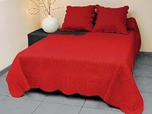 Couvre lit boutis rouge/noir 220x240 cm