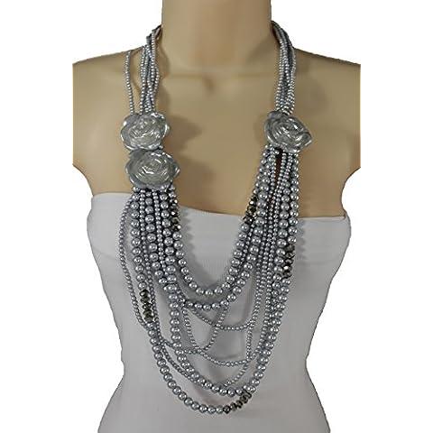 tfj Mujeres Arnés de cuerpo de metal Cadena Bikini Moda Joyería Largo Collar de ancho hombros bolero Web neta Oro