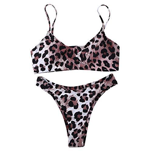 Leopard-print-hose (JewelryWe Damen Bikini-Sets Leopardenprint Leopard Push Up Gepolstert Bustier Hohe Taille Bikinislip Badeanzug Bademode, M)