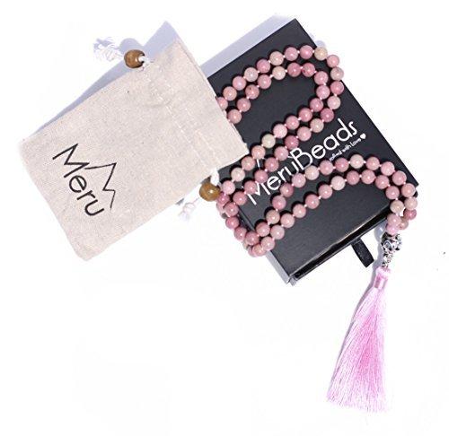 Halskette - Rosa Rhodonit - Buddhistische Gebetskette für Meditation - Yoga Jewelry Bead 108 Mala ()