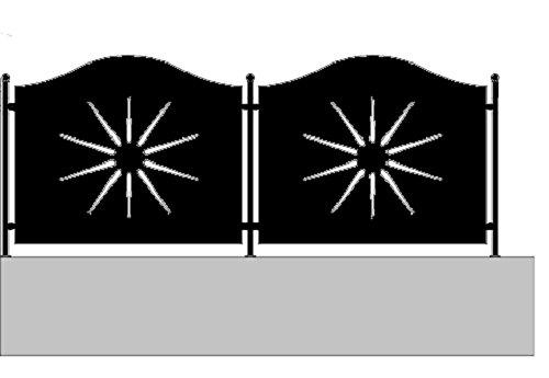 Metallog Pannello in Ferro per Recinzione Incluso piantane Serie Sole (H100 X L145 cm)