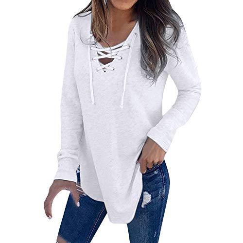 iHENGH Damen Frühling Sommer V-Ausschnitt Strap Long Sleeve Frauen T-Shirt