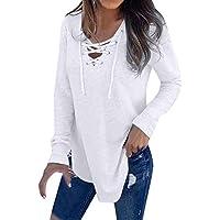 HWTOP T-Shirt Damen Bluse Frauen V-Ausschnitt Strap Long Sleeve Top Herbst