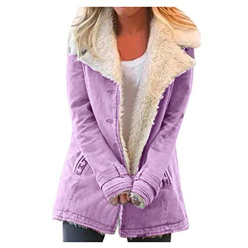 Xuthuly Übergroße Mantel Frauen Winter bequem warm Plus Samt Jacke Oberbekleidung lässig solide Taste Revers dicken Mantel