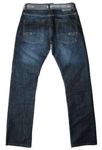 Crosshatch Homme Wak Neuf Jambe Droite Délavé Foncé Ceinture Jeans Délavage foncé