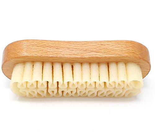 DELARA Wildleder-Bürste aus Holz mit Auflage aus Naturkrepp zur Reinigung von Nubuk-Schuhen und Taschen aus Rauleder - Made in Germany