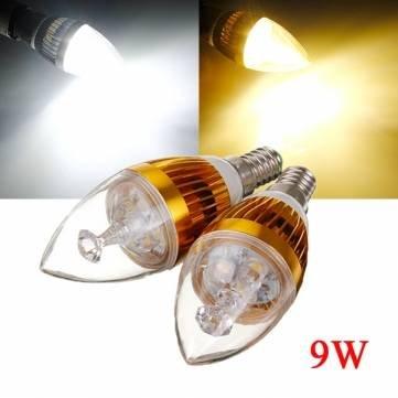 Dimmerabili, attacco E14, 9 W, colore: bianco/bianco caldo 3-Lampadina LED a candela, 220 V