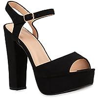 Stiefelparadies Damen Plateau Sandaletten | Peeptoes Party Schuhe | Pumps Blockabsatz High Heels | Satin Samt Strass Fransen | Silvester | Flandell®