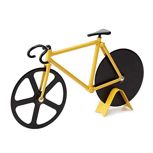 NOBLJX Pizzaschneider Fahrrad Lebensmittel Klasse Anti-Stick Edelstahl Rad Doppel Pizzamesser Runde...