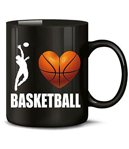 Golebros Sport I Love Basketball 4460 Tasse Becher Fanartikel Fan Artikel Männer Junge Deko Geschenkidee Geschenk Geburtagsgeschenk Geburtstag Geschirr Schwarz
