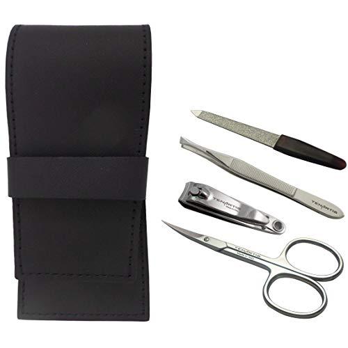 Set Manucure 4 pièces en Cuir Noir avec Coupe Ongles - Tenartis 378 Fabriqué en Italie