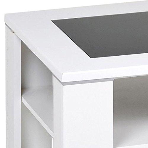 """Alfa-Tische M1964 Couchtisch """"Santos"""", 100 x 65 cm, Dekor mit schwarzer Glaseinlage und Ablageboden, weiß"""