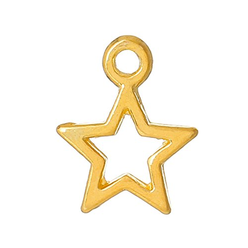 Sadingo Metallanhänger, Charm Stern - vergoldet - 50 Stück - 13 x 10 mm - DIY Schmuck, Stern Anhänger Gold, Ketten