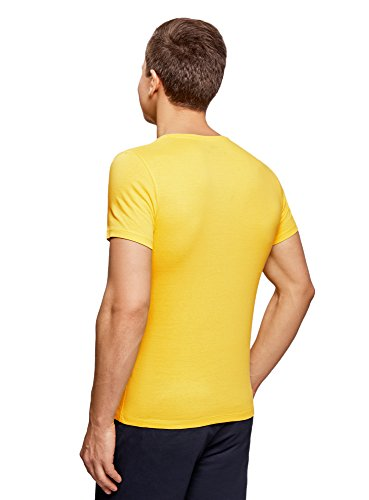 oodji Ultra Herren T-Shirt mit Sommerdruck Gelb (5279P)