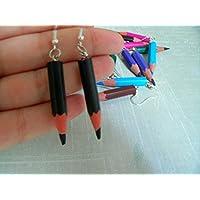 Boucles d'oreilles crayons bois / crayons de couleurs, couleurs au choix parmis 24 couleurs