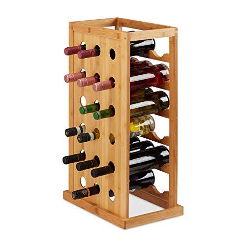 Relaxdays 10025950 Weinregal, platzsparende Weinablage für 18 Flaschen, Flaschenregal aus Bambus, HBT 66,5 x 39 x 25,5 cm, Natur