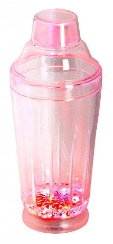 (LED-Highlights Glas Becher Cocktailshaker 500 ml LED Farbwechsel bunt Rgb mit Batterie wechselbar Bar Kunststoff Trinkglas beleuchtet Cocktailmixer)