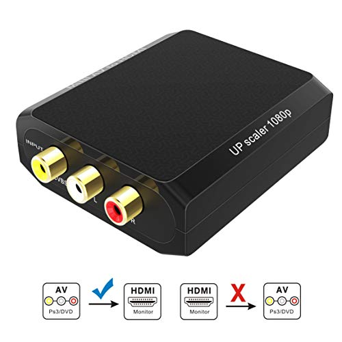 GANA RCA zu HDMI Adapter-Cinch AV auf HDMI Konverter 1080P-CVBS to HDMI Adapter mit USB Ladekabel für NES SNES PS2 PS3 VHS DVD (Nes-auf-hdmi-adapter)