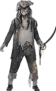 Smiffys Herren Geister-Pirat Kostüm, Mantel, Hose und Hut, Größe: M, 21331