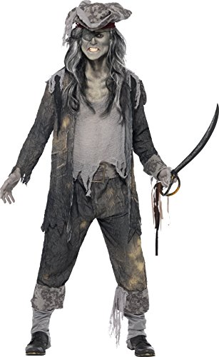 Smiffys, Herren Geister-Pirat Kostüm, Mantel, Hose und Hut, Größe: M, (Männer Einfache Piraten Kostüm)