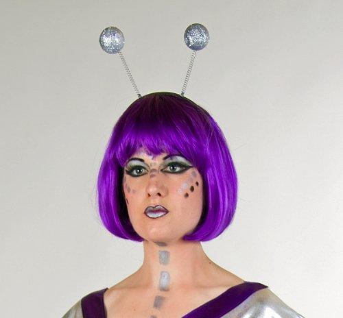 Kostüm Girl Alien - Kopfbügel mit Glitterkugeln, silber