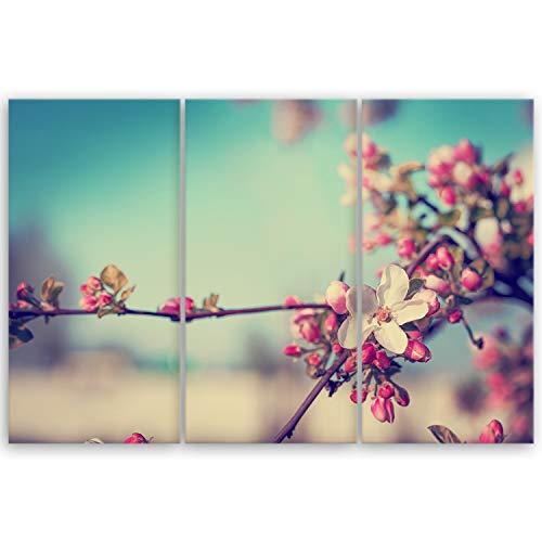 ge Bildet® hochwertiges Leinwandbild XXL Pflanzen Bilder - Blütenbaum - Blumen Natur Rosa - 120 x 80 cm mehrteilig (3 teilig) 2206 G