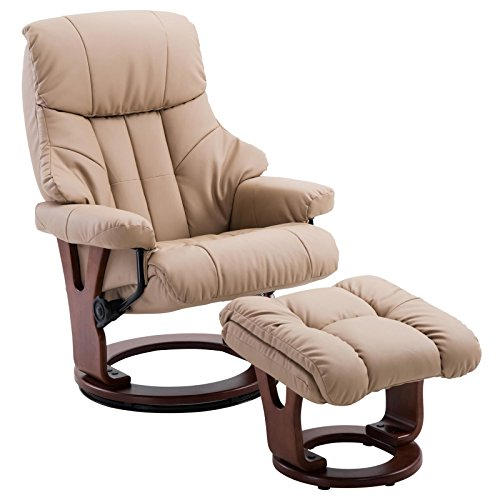 IDIMEX Relaxsessel mit Hocker Cushy, Fernsehsessel TV Sessel Relaxstuhl Entspannungssessel, gepolstert, mit Kunstleder in braun