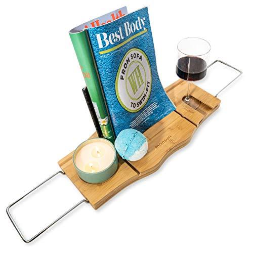 Monsuri Badewannen-Ablage Buch iPad Tablet Handy Wein-Glas Halter | Bambus-Holz Badewannen-Auflage Verstellbar | Integrierter Handtuch-Halter Seifen-Schale Modern (Holz-wein Und Glas-halter)