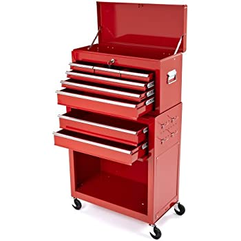 Trueshopping Tool Cabinet Steel Roller Chest 2 Piece Rollcab Storage Box 6 Drawer Red Toolbox Shelves Protection Safe