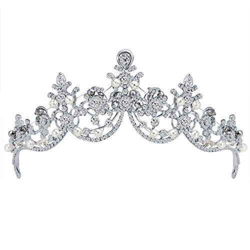 Fablcrew Silber Strass Diadem Haarspange Krone Prinzessin Stirnband Haarspange Diadem Sehr schöne Glitzerkrone Das Diadem Hohle gehobene Braut Krone Kopfschmuck
