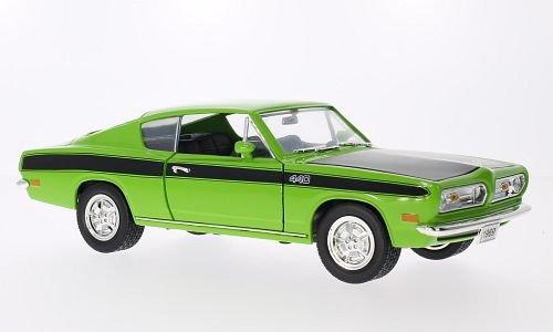 Barracuda-auto-modell (Plymouth Barracuda, hellgrün/schwarz, 1969, Modellauto, Fertigmodell, Lucky Die Cast 1:18)