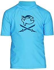 iQ-Company UV 300 Shirt Kiddys Jolly Fish - Camiseta con manga corta de natación para niños, color turquesa