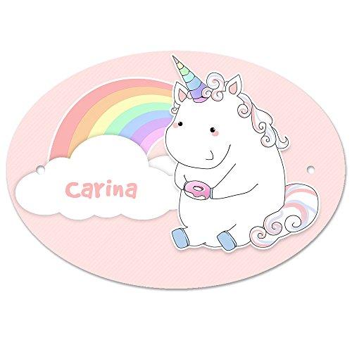 Türschild mit Namen Carina und Einhorn-Motiv in Pastell-Optik für Mädchen | Kinderzimmer-Schild