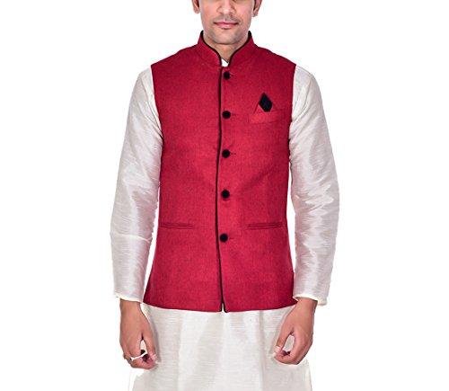 Ellegent Exports Men's Ethnic Modi Nehru Jute Jacket Red With Black Piping...