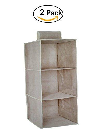 Organizer armadio air, mensole da armadio , portatutto con 3 scomparti, per vestiti, calze, mutande, asciugamani, accessori e altro, h60 x 30 x 30cm , grigio-marrone,2 pz