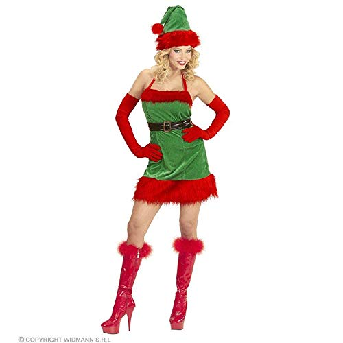 Lively Moments Kostüm Elfe / Elfenkostüm für Damen mit Kleid, Gürtel und Hut / Weihnachtself / Weihnachten Gr. S = 34 / 36