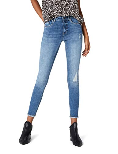 ONLY Damen onlBLUSH MID SK ANK RAW REA333NOOS Skinny Jeans, Blau (Light Blue Denim), 40 /L30 -