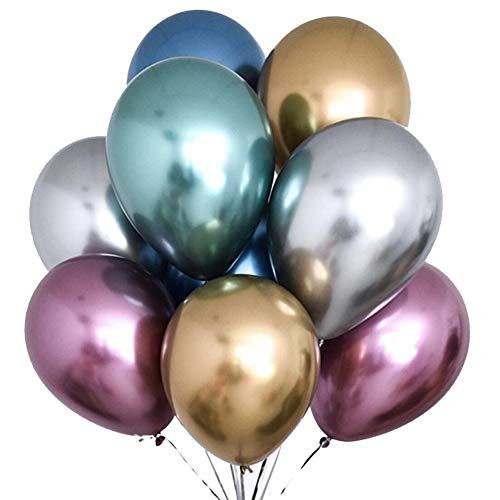 TOSOAR 50 Stücke Metallic-Farbe Ballons Hochzeit Luftballons 30cm Hochzeitsdeko Partydekoration Geburtstag Jahrestag Premium Natur Latex Wirklich Metallisch Aussehend (Chrom Ballons) - Chrom Natur
