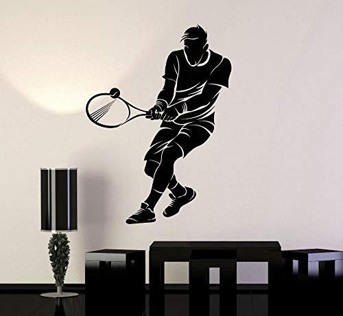 Wandtattoo Vinyl Decortion Tennis Sport Spieler Wandaufkleber Für Jungen Kinder Schläger Ball Poster 42X55 CM -