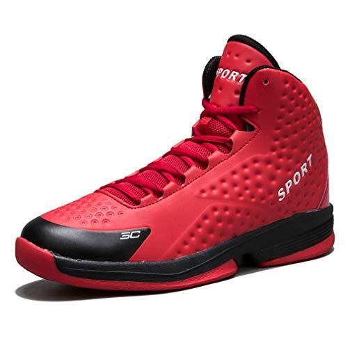 YAN Männer Basketball-Schuhe, Mode Low-Top Sneakers Stoßfest/Rutschfeste Laufschuhe Outdoor Wanderschuhe Schwarz Blau Rot Weiß (Farbe : Rot, Größe : 40)
