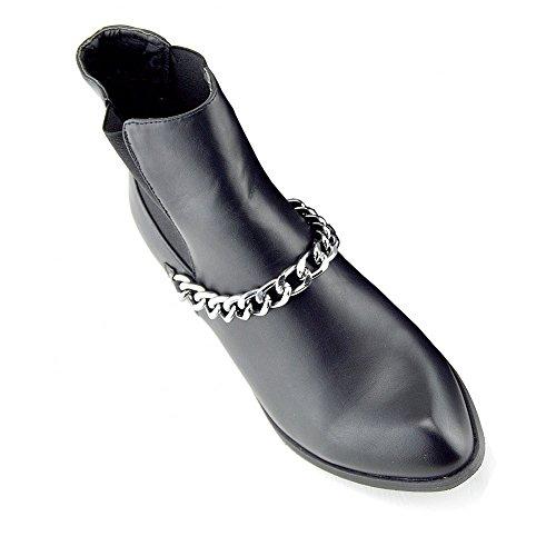 Kick Footwear - Donna piatta tirare la catena nero Womens chelsea alla caviglia stivali scarpe Nero