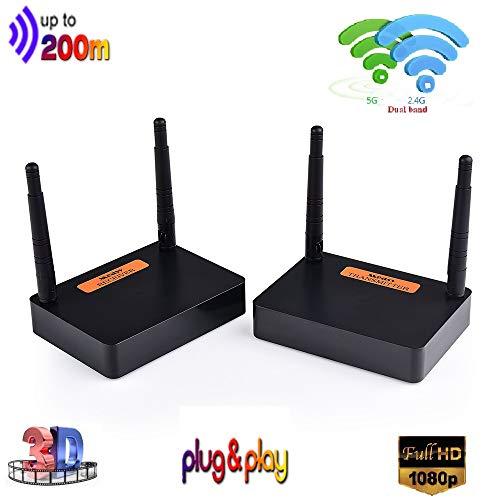 Measy FHD676 2.4/5.8GHz Wireless HD Extender Set 200M für HDMI AV Empfänger und Sender, 100m 3D Digitale Übertragung Full-HD 1080p Extender mit IR Fernbedienung und HDMI Kabel (Schwarz) -
